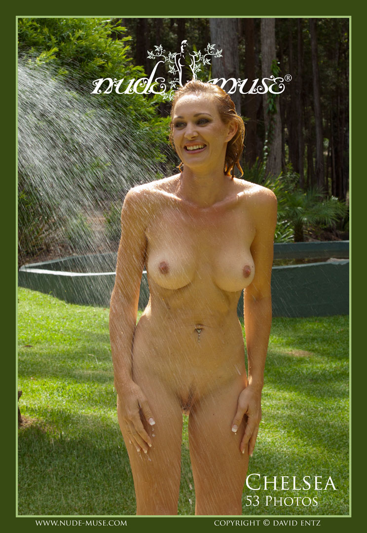 Female naked shower outside